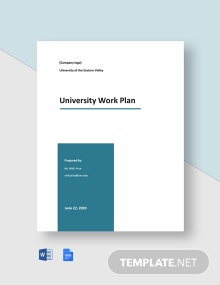 University Work Plan Template