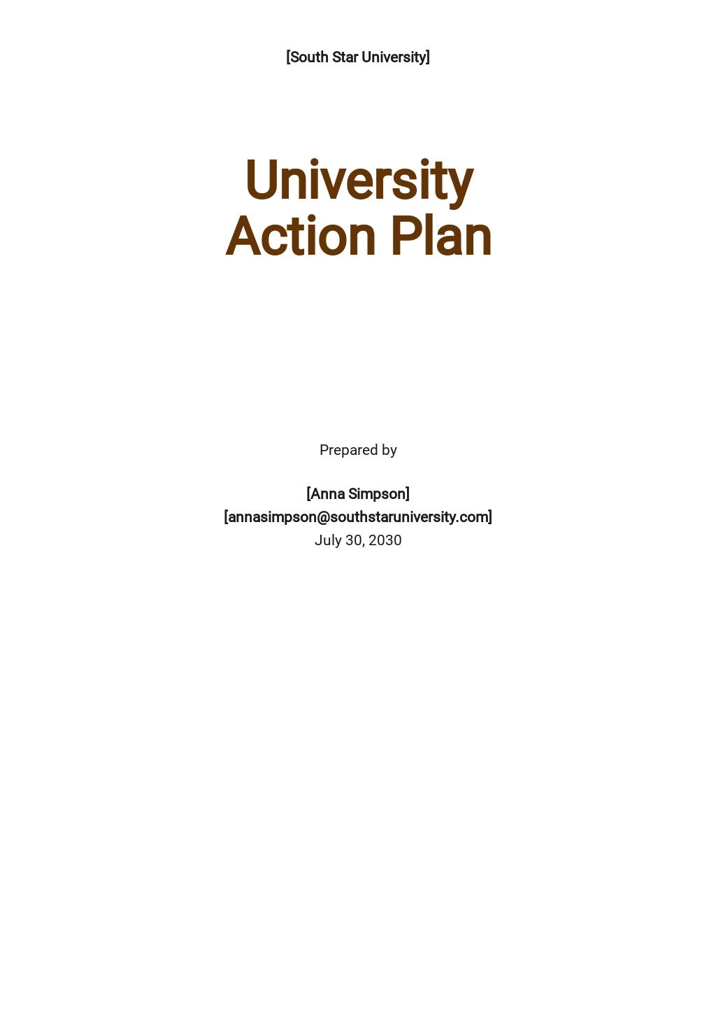 University Action Plan Template
