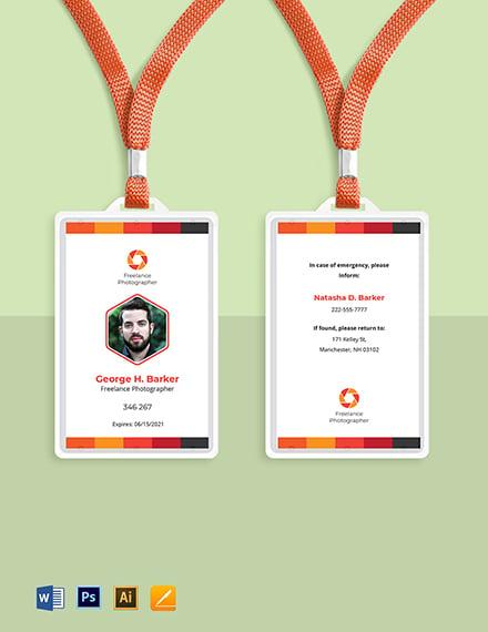 Professional Freelance Photographer ID Card Template