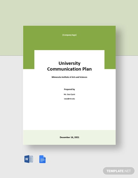 University Communication Plan Template