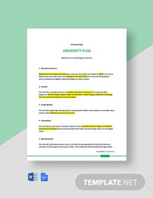 Free One Page University Plan Template