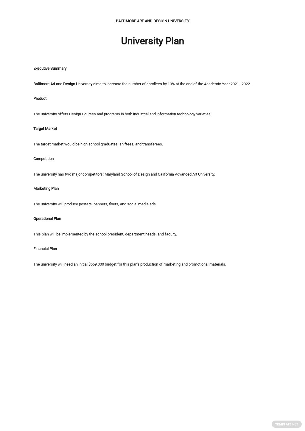 One Page University Plan Template