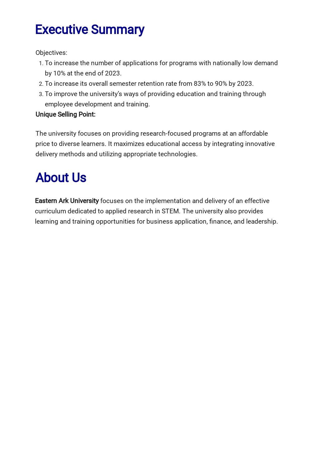 Free Blank University Business Plan Template 1.jpe