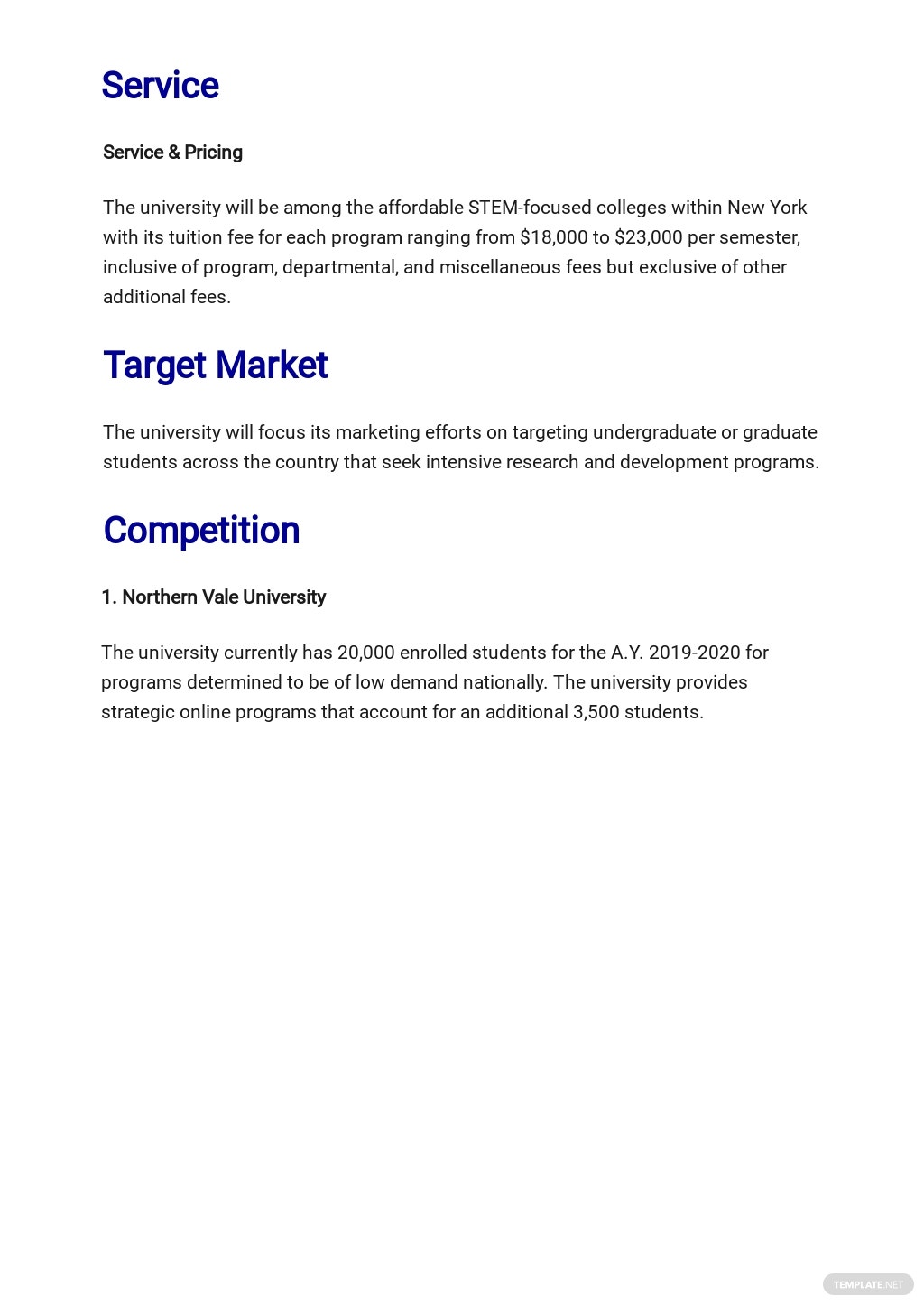 Free Blank University Business Plan Template 2.jpe