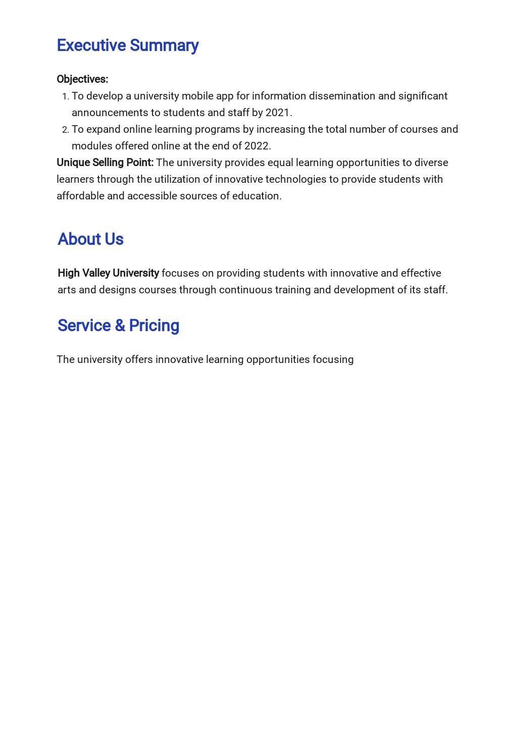Free Sample University Business Plan Template 1.jpe