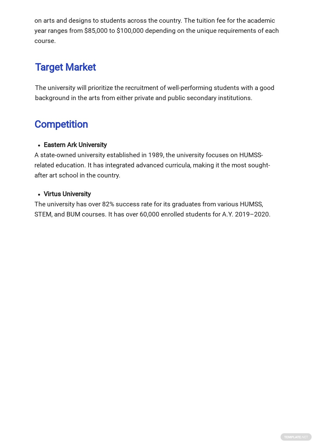 Free Sample University Business Plan Template 2.jpe