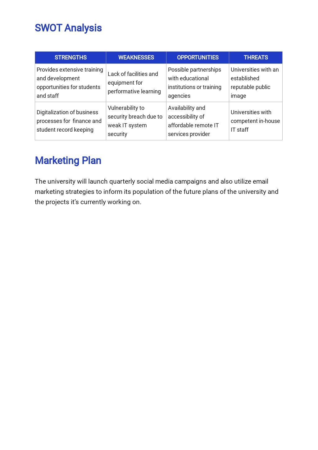 Free Sample University Business Plan Template 3.jpe