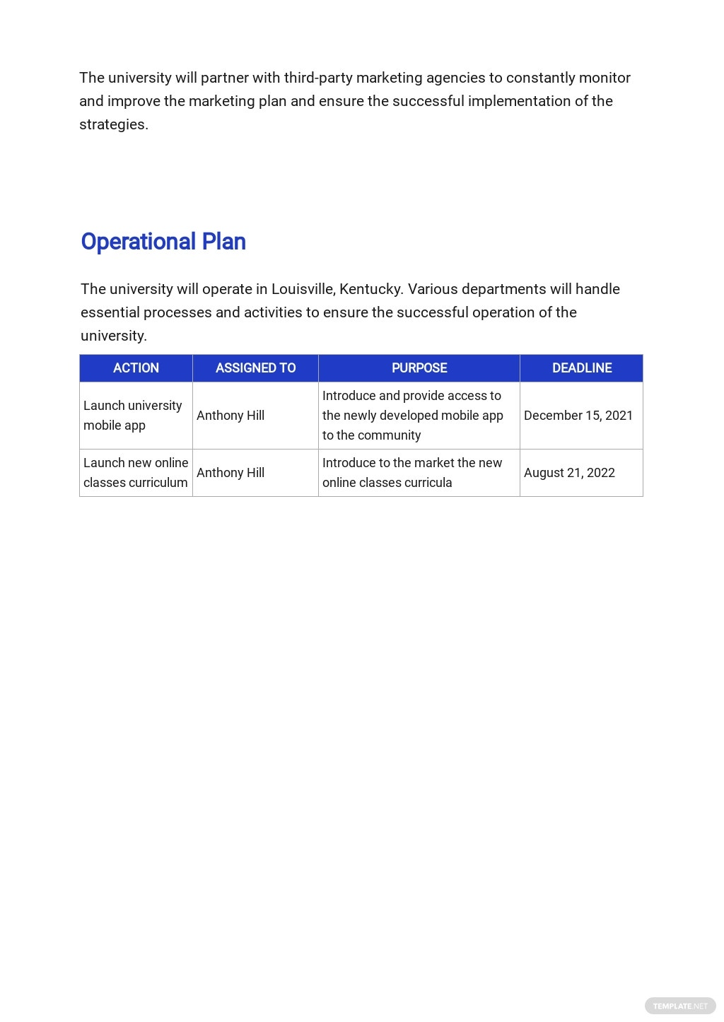 Free Sample University Business Plan Template 4.jpe