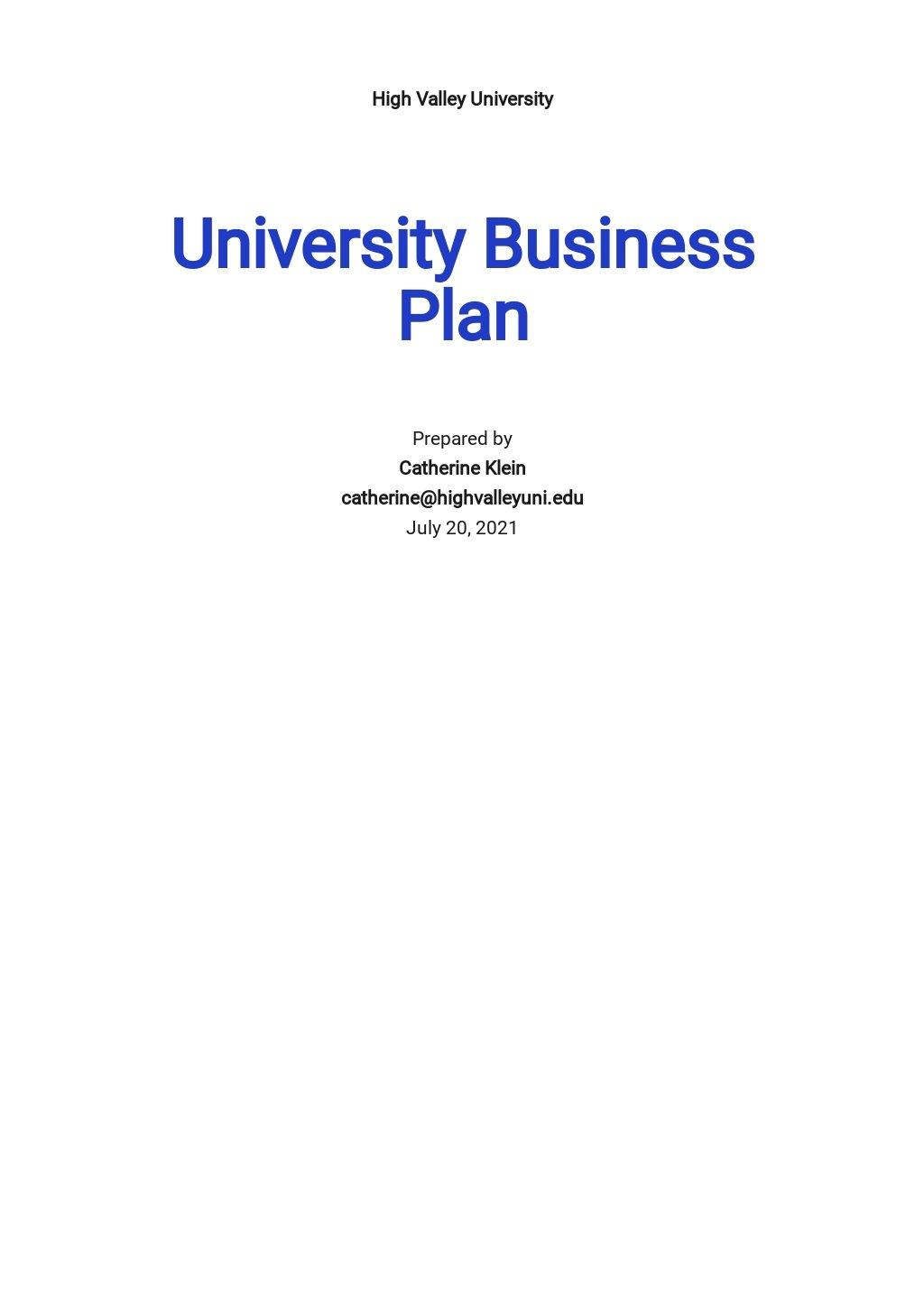 Sample University Business Plan Template
