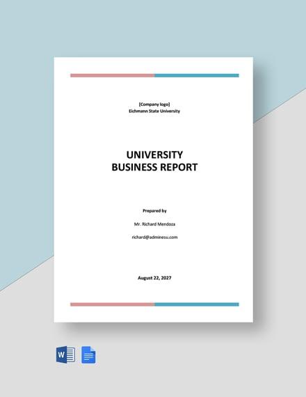 University Business Report Template