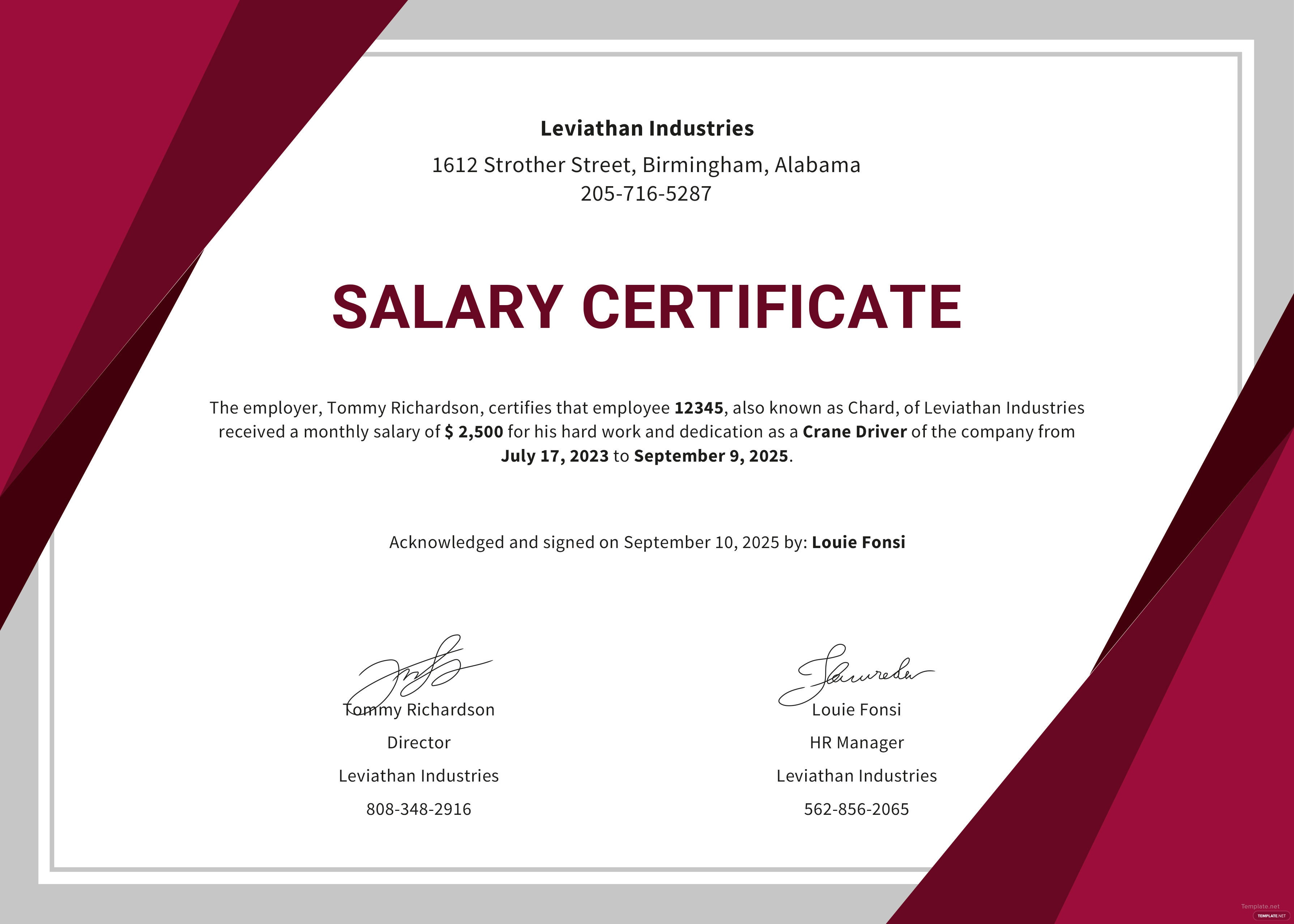 Free Salary Certificate Format Template In Microsoft Word