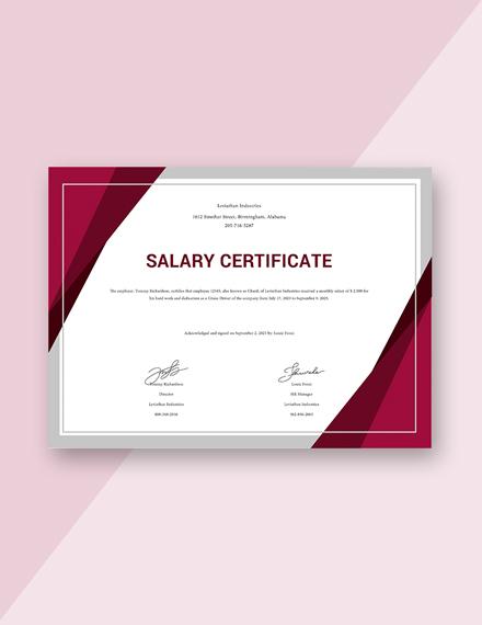 Free Salary Certificate Format