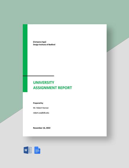 University Assignment Report Template