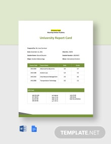 University Report Card Template