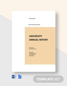 University Annual Report Template