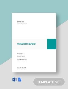 Free Basic University Report Template