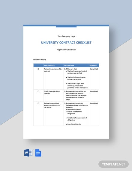 University Contract Checklist Template