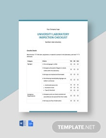 University Laboratory Inspection Checklist Template