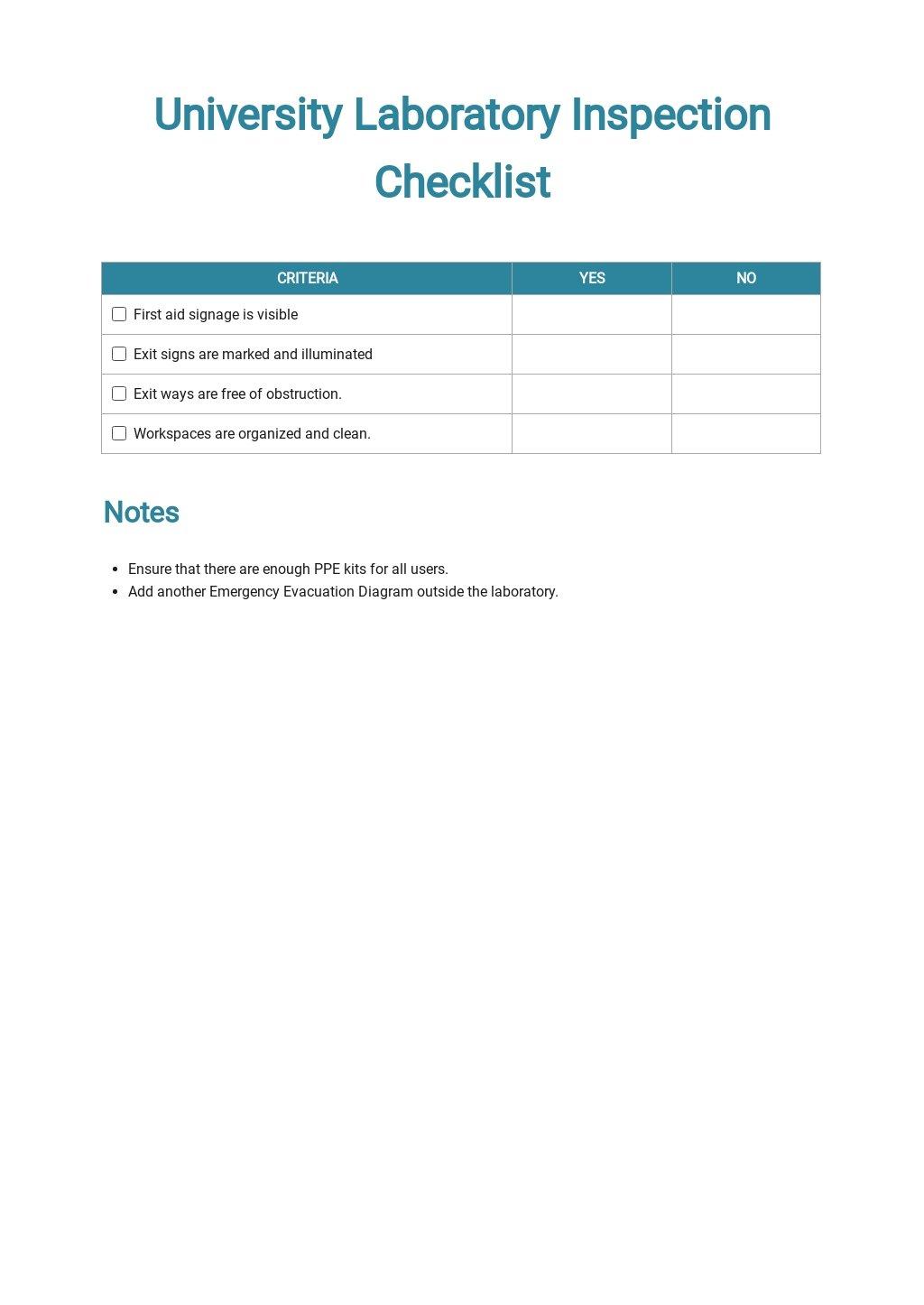 University Laboratory Inspection Checklist Template