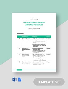 College Campus Security and Safety Checklist Template