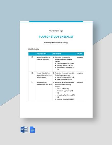 Plan of Study Checklist Template