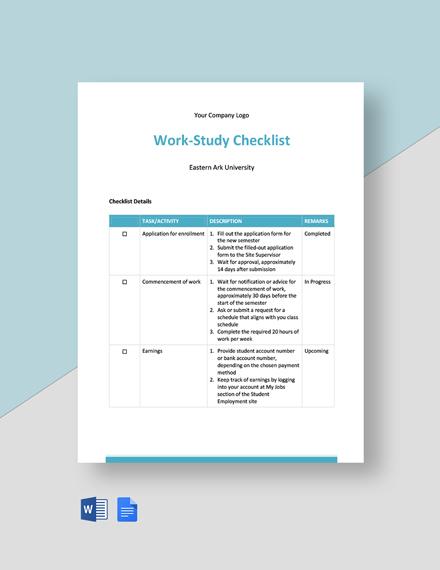 Work Study Checklist Template