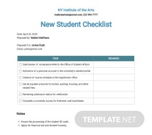 New Student Checklist Template