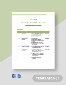 University Research Checklist Template