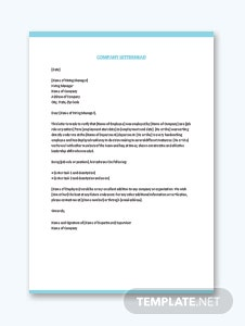 Company Experience Letter Template