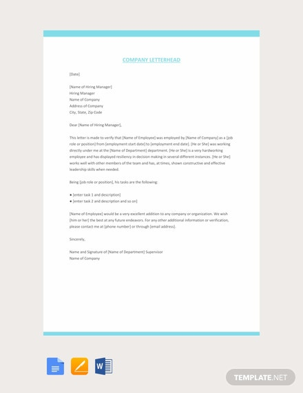Free Company Experience Letter Template