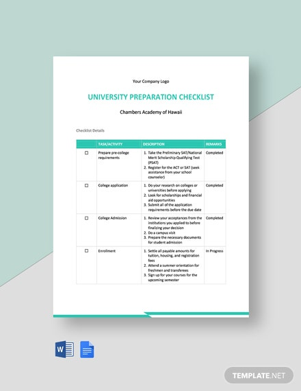 University Preparation Checklist Template