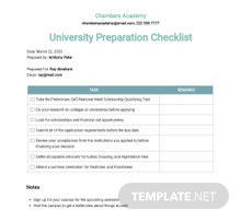 University Preparation Checklist Template