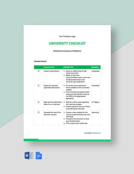 Free Basic University Checklist Template