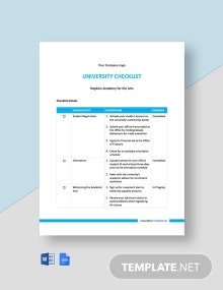 Free Blank University Checklist Template