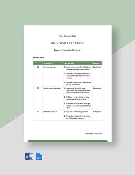 Free Simple University Checklist Template
