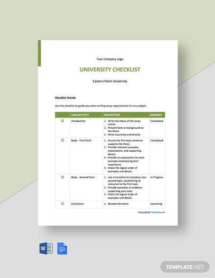 Free Sample University Checklist Template