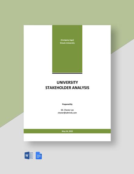 University Stakeholder Analysis Template