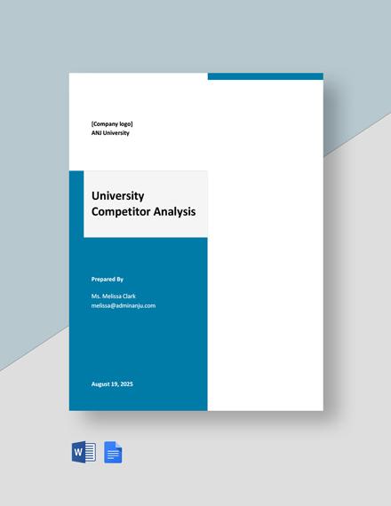 University Competitor Analysis Template