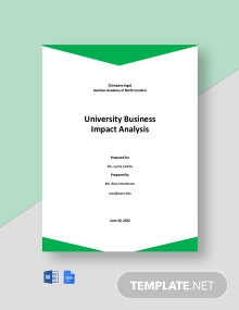 University Business Impact Analysis Template