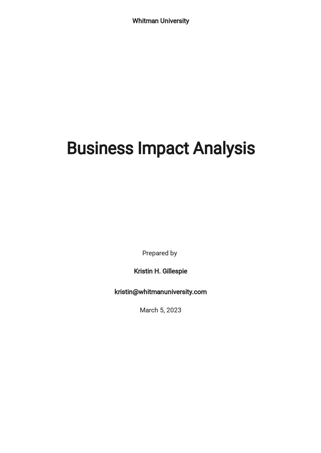 University Business Impact Analysis Template