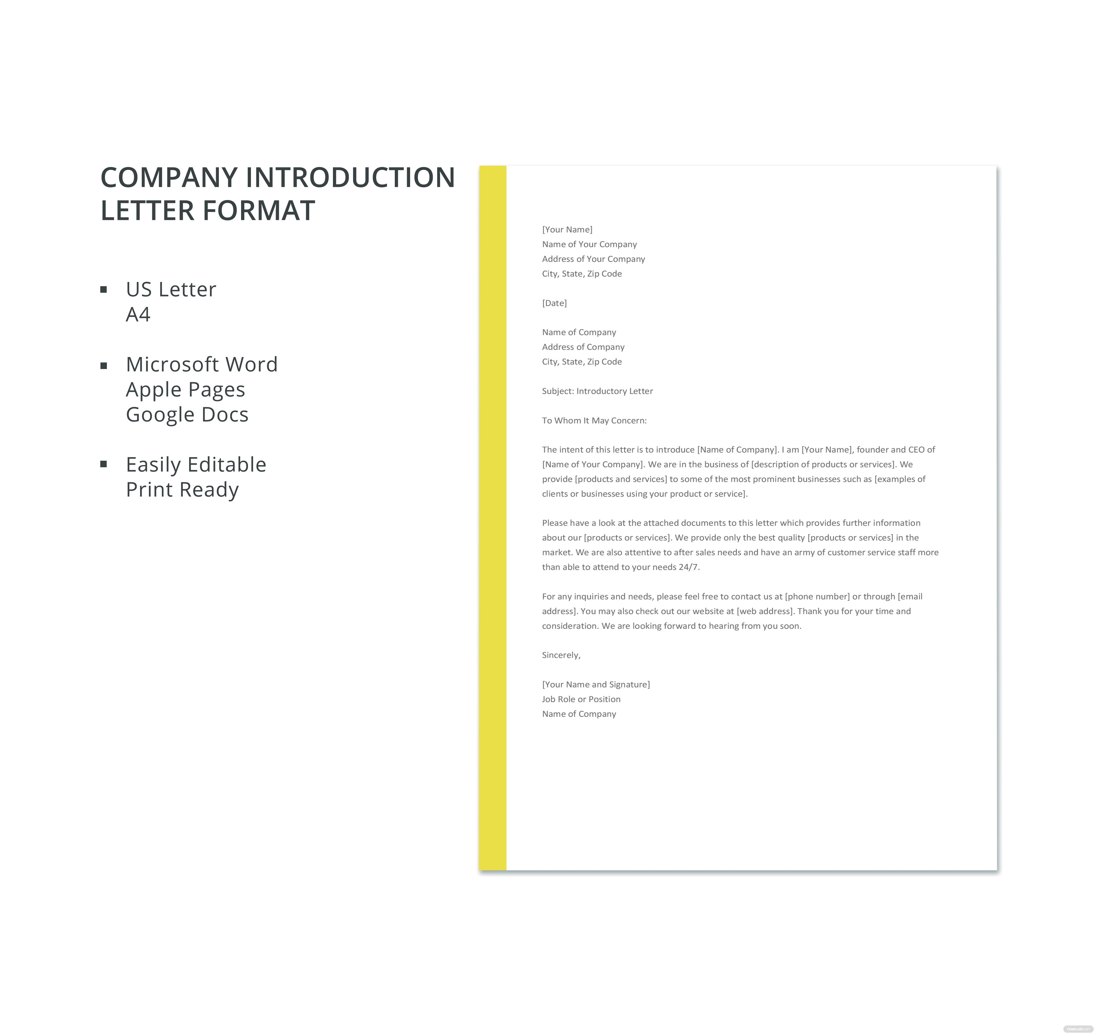 click to see full template company introduction letter format
