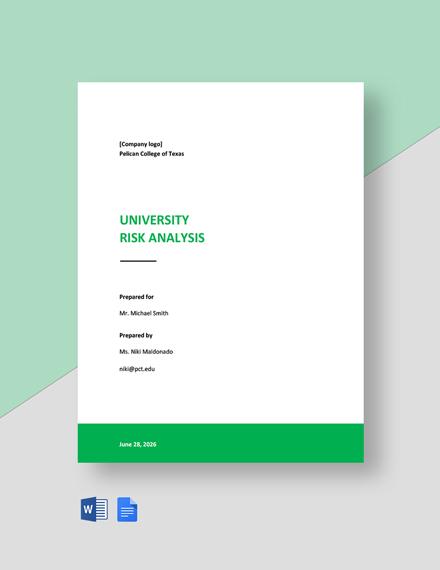 University Risk Analysis Template