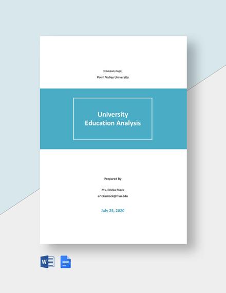 University Education Analysis Template
