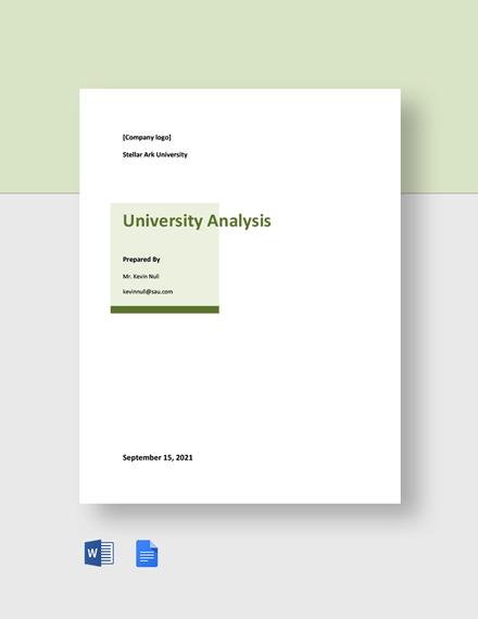 Free Sample University Analysis Template