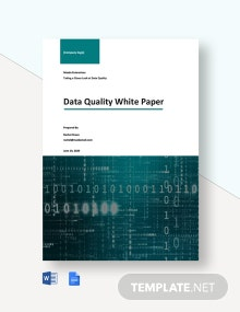 Data Quality White Paper Template