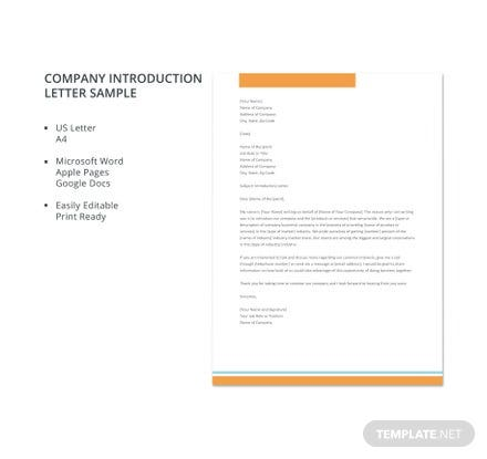 Company introduction letter sample template download 700 letters company introduction letter sample template download 700 letters in word pages google docs template expocarfo Choice Image