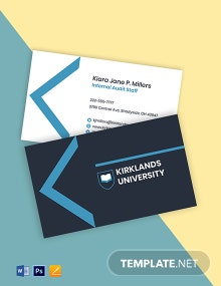 University Staff Business Card Template