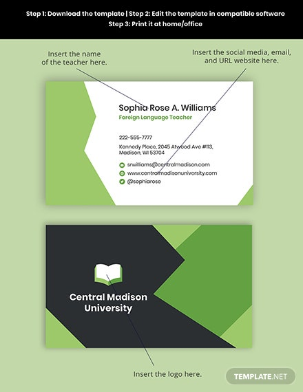 Language Learning Business Card Template Format