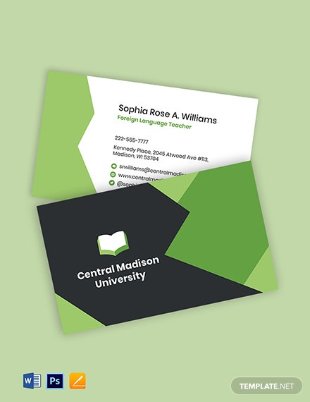 Language Learning Business Card Template