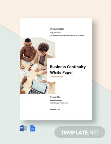 Business Continuity White Paper Template